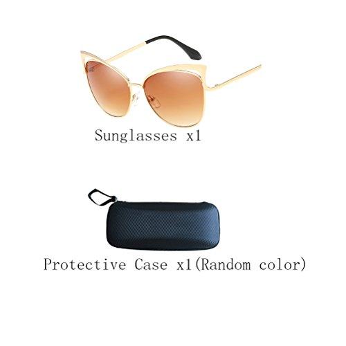 des lunettes Sunglasses Gold Zhhaijq frame Protection Men's soleil Mirror tea lens Women's de UV400 d5RRqxA0