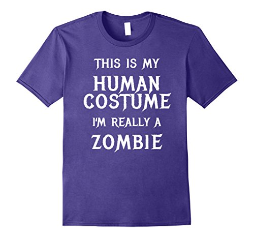 Mens Zombie Halloween Costume Shirt Easy Funny for Men Boys Girl Large Purple