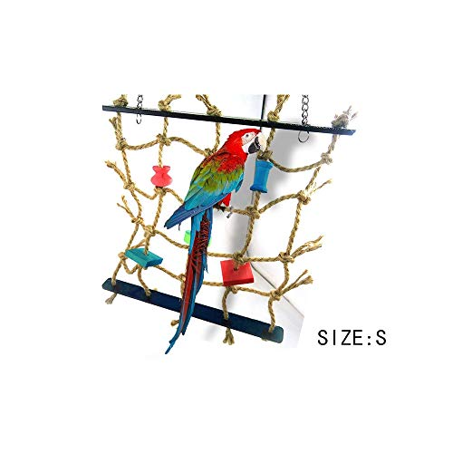 Pet Supplies Parrot Bird Cage Toy Game Hanging Rope Climbing Net Swing Ladder Parakeet Budgie Macaw Play Activity Gym Toys for Small Bird ()