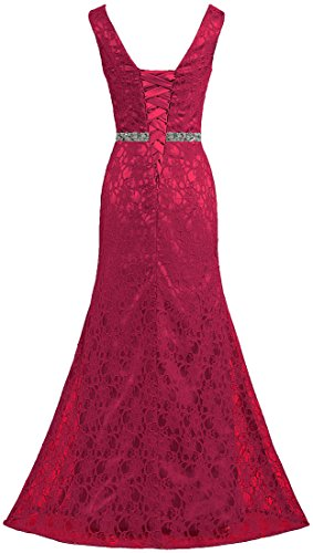 Sleeveless Lace Burgundy Dresses Long Neck Evening V ANTS Women's Gown FaxWq6ta