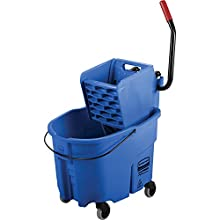 Rubbermaid Commercial WaveBrake 2.0 35 QT Side-Press Mop Bucket and Wringer, Blue (FG758888BLUE)