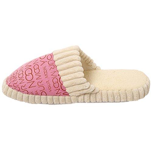 Unisex Winter 41 Hausschuhe 40 Schuhe Pink HENGSONG Baumwolle Warme Hausschuhe aus 5FgSSPa