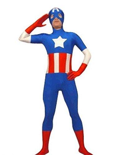 EyeCandy UK Capitán América SuperSkin Traje – Adulto Unisex Hombres y Mujeres Segunda Piel | Mono Onesie Ropa Disfraz Halloween Lycra
