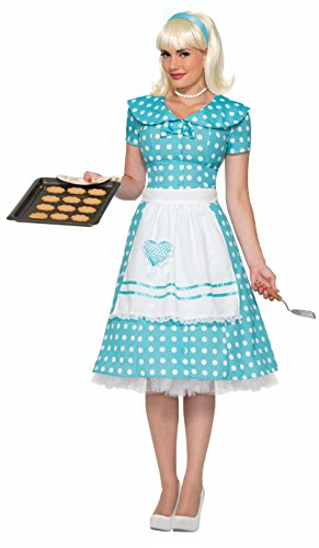 Forum Novelties F74392 Ladies M/L 8-12 50's Housewife Dress with Apron Blue/White]()