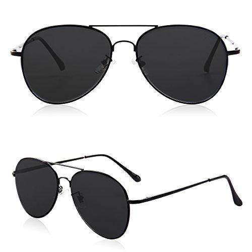 ba3dcb612d6 SOJOS Classic Aviator Mirrored Flat Lens Sunglasses Metal Frame with Spring  Hinges SJ1030 with Black Frame/Grey Lens