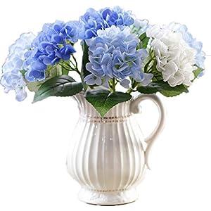 Anlise Artificial Hydrangea Flowers Fake European Hydrangea Silk Flower for Home Wedding Arrangements Decor, Pack of 6 15