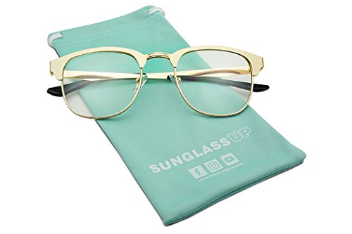 Classic Square Horn Rimmed Half Frame Metal Clear Lens Sun Glasses Unisex (Gold Frame   - Non Frame Prescription Glasses Gold