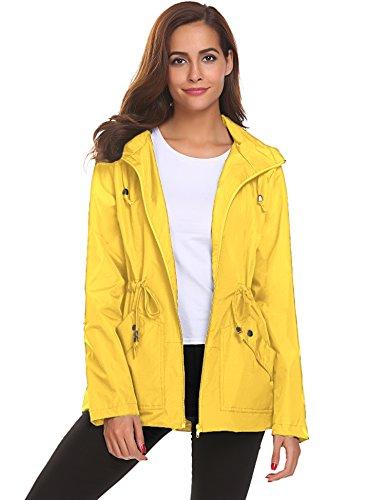 Romanstii Rain Jacket,Women Windbreaker Light Raincoat with Lining Pockets Travel Hiking (Hood No Lining)
