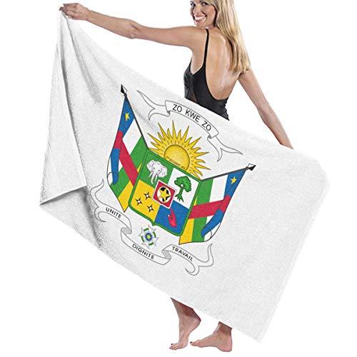 犯す自動化感じるビーチバスタオル バスタオル 中央アフリカ共和国国旗の紋章 スポーツ 海水浴 旅行用タオル 多用途 おしゃれ White