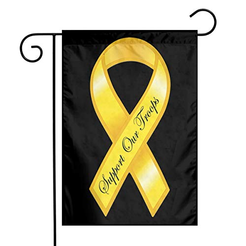 HU7 JDOS7 Support Our Troops Yellow Ribbon Garden Flag House Banner for Party Yard Home Outdoor -