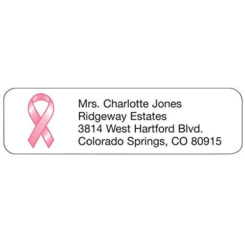 Personalized Pink Ribbon Design Address Labels- Includes a Set of 200 Self-Stick Sheeted Labels Sized at 2 ¼ in. long x 5/8 in. wide]()