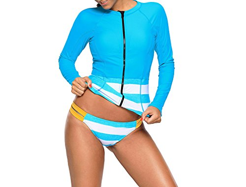 Noon-Sunshine Large Size Swimsuit Long-Sleeved Zipper No Rims Conservative Low-Waist Split Swimwear,Blue,M