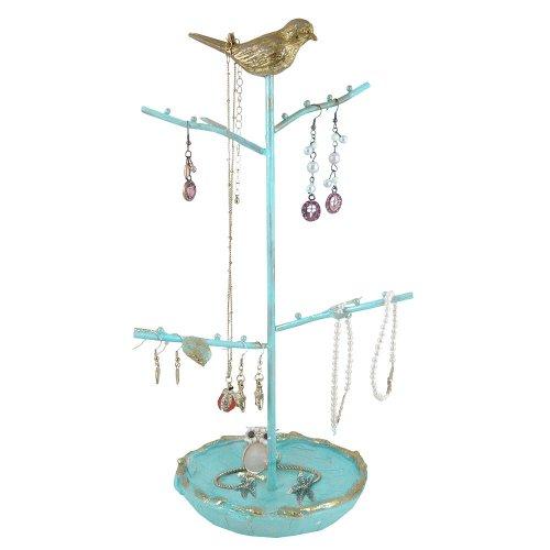 Jewelry Tree - Blue Stand & Gold Bird Jewelry Display
