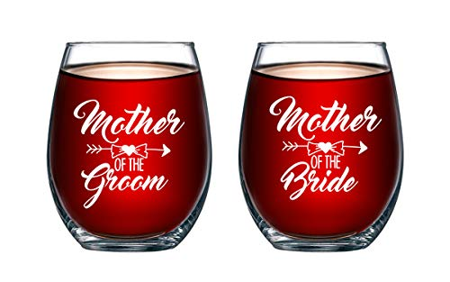 (Mother of Bride and Groom 15 oz Stemless Wine Glasses (Set of 2) - Unique Wedding Favor Gifts For Parents - Engagement Gifts For Mother In Law and Brides Mom )