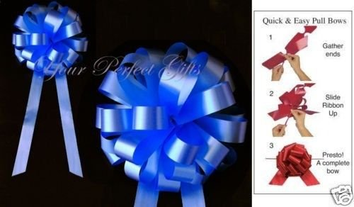 10 pcs 8'' WEDDING PULL PEW BOWS BRIDAL SHOWER DECORATION CHAIR TABLE CENTERPIECE (royal blue)