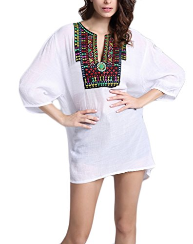 Donna Camicetta Prodotto Plus Vintage Stile Etnico Ricamo Classiche Unique Tunica Eleganti Manica Lunga V Neck Fashion Casual Sciolto Tshirt Shirts Camicie Donne Bianca