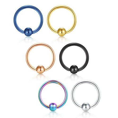 - vcmart Nose Hoop Cartilage Earring-16G 12mm 316L Surgical Steel Lip Eyebrow Tongue Helix Tragus Septum Nose Piercing Ring Mix Color
