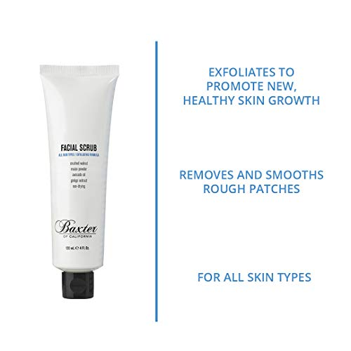 Baxter of California Exfoliating Facial Scrub for Men | Non-Drying with Walnut and Avocado Oil | All Skin Types | 4 Fl Oz