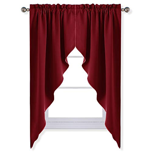 NICETOWN Blackout Kitchen Tier Curtains- Tailored Scalloped Valance/Swags for Basement Decor on Christmas & Thanksgiving Day (1 Set, 72 inch Wide Combined, 63 inch Long, Burgundy)