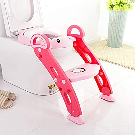 Potty Toilet Seat Adjustable Baby Toddler Kid Toilet Trainer with Step Stool Ladder for Boy and Girl (Pink) TomiKid