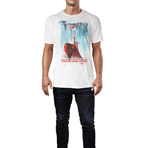SINUS ART® Russian Ship Herren T-Shirts stilvolles weißes Fun Shirt mit tollen Aufdruck