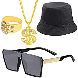 Beelittle 80s/90s Hip Hop Costume Kit Cool Rapper Outfits,Bucket Hat Sunglasses Gold Plated Chain (P)