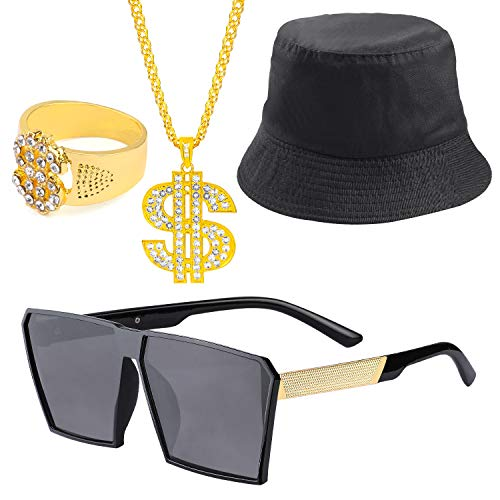 Beelittle 80s/90s Hip Hop Costume Kit Cool Rapper Outfits,Bucket Hat Sunglasses Gold Plated Chain (P)]()