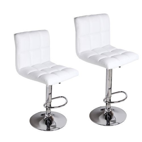 Adeco White Leatherette Faux Tufted Adjustable Barstool Chair Chrome Finish Pedestal Base (Set of Two), White ()