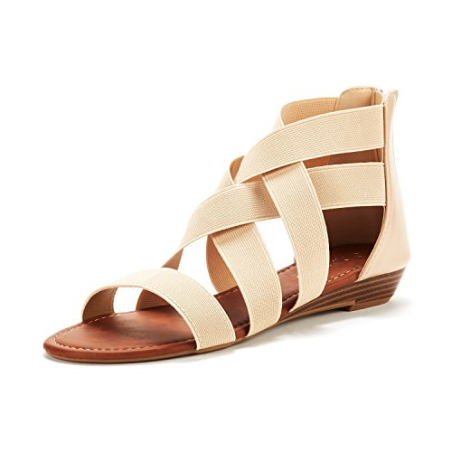 DREAM PAIRS Women's ELASTICA8 Nude Elastic Ankle Strap Low Wedges Sandals Size 9 M US (Women Ankle For Sandals)