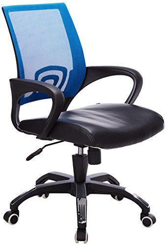 Flash Furniture Mid-Back Blue Mesh Swivel Task Chair with Black Leather Seat and Arms