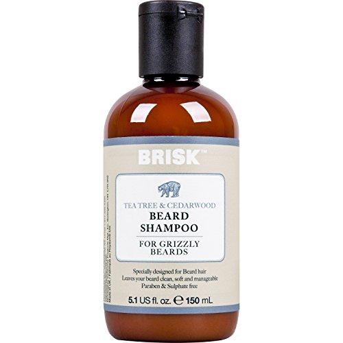 Brisk Beard Grooming Shampoo, Tea Tree and Cedarwood, 5.1...
