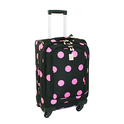 jenni-chan-dots-360-quattro-21-inch-upright-spinner-carry-on-luggage-black-pink-one-size