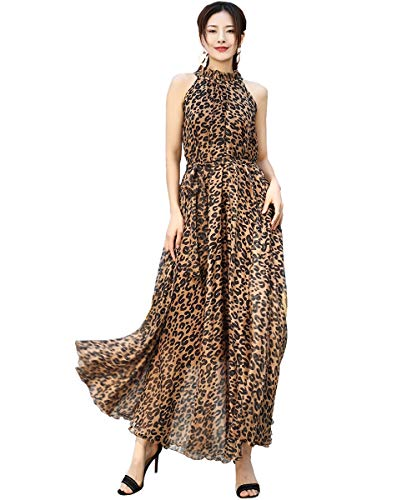 Medeshe Women's Chiffon Floral Holiday Beach Bridesmaid Maxi Dress Sundress (Large, Leopard Print)