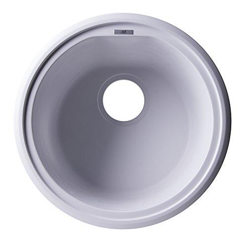 ALFI brand AB1717UM-W Undercount Round Granite Composite Kitchen Prep Sink, 17