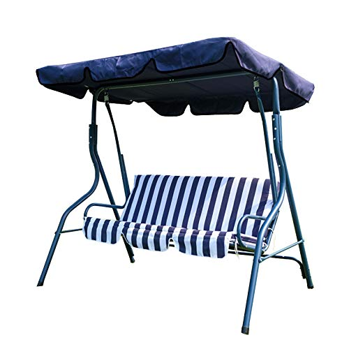 Kenthia 1 Piece 3 Seat Swing Chair Garden Hammock Anti-UV Replacement Canopy Spare Cover Navy Blue 210x145x20cm About 82