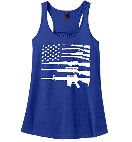 Comical Shirt Ladies Gun American Flag Shirt Patriotic USA Pride Tee Royal Blue 2XL