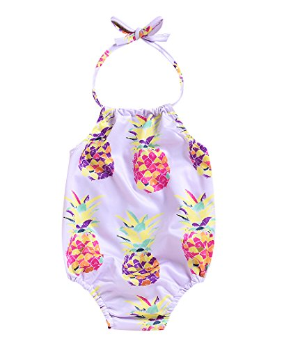 Mini honey Baby Girl Pineapple Print Backless Halter Swimwear Sunsuit Summer Beachwear Outfit (0-3 Months, Lilac)