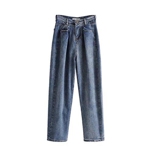 Grande Taille WanYang Jean Haute Unie Couleur Clair Taille Pantalon Palazzo Boyfriend Style Plis Femme Bleu Chic 1qpxzwf81