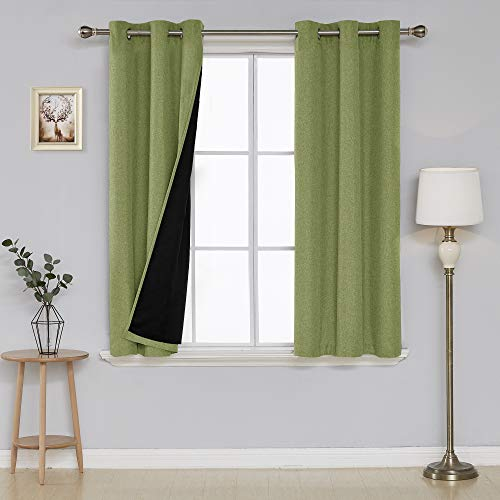 (Deconovo Faux Linen Textured Blackout Curtain Panels Grommet Room Darkening Thermal Insulated Curtain Grommet Lined Curtains for Bedroom 38x54 Inch Green 2 Panels)