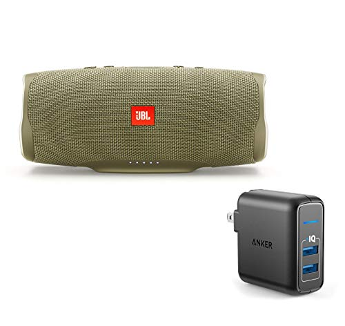 JBL Charge 4 Portable Waterproof Wireless Bluetooth Speaker Bundle with Anker 2-Port Wall Charger – Sand