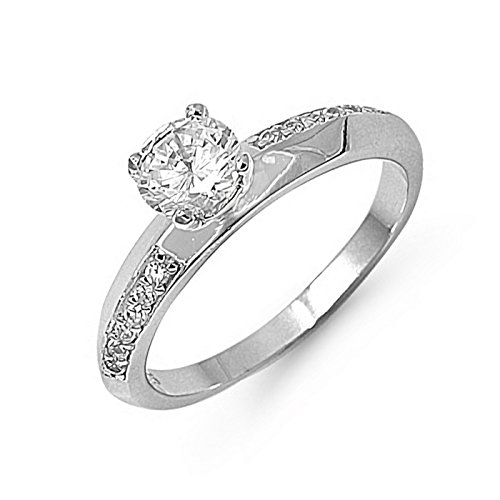 (6mm Knife Edge Band Round Cut Cubic Zirconia Womens 925 Sterling Silver Ring Size 8)