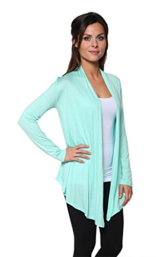 Mint Weights (Free to Live Women's Light Weight Open Front Cardigan Sweater Made in USA (XL, Mint))