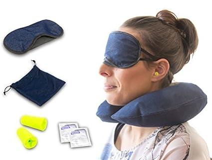 Kit de viaje – Avión Viaje – Inflatable almohadas para viaje – Bono – Antifaz –