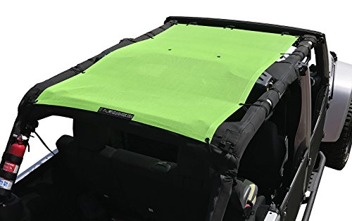 ALIEN SUNSHADE Jeep Wrangler Mesh Shade Top Cover with 10 Year Warranty Provides UV Protection for Your 4-Door JKU (2007-2017) Green