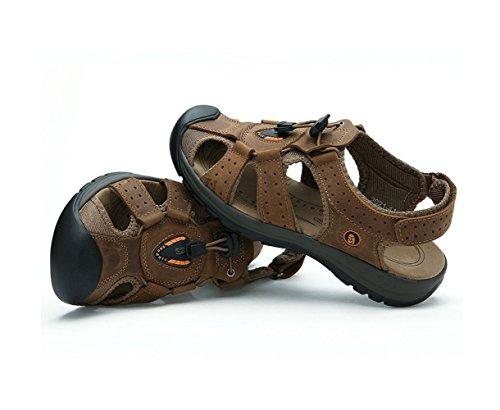 da Esterno Spiaggia Pelle Uomini da Sandali Sportive Scarpe Moda Brown Baotou in Scarpe Estate Cwfxq0F0