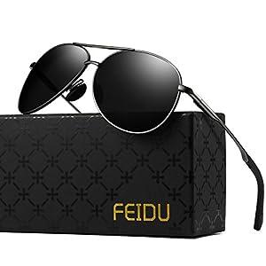 Polarized Aviator Sunglasses for Men - FEIDU Driving Sunglasses Unisex FD9002 (Black/Gun, 2.28)