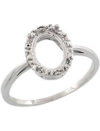 10k White Gold Semi-Mount Ring ( 8x6 mm ) Oval Stone & 0.01 ct Diamond Accent, sizes 5 - 10