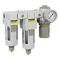 "PneumaticPlus SAU3030M-N03G Three Stage Air Drying System - Air Particulate Filter, 0.3 Micron Coalescing Filter & Air Pressure Regulator Modular Combo 3/8"" NPT - Manual Drain, Poly Bowl"