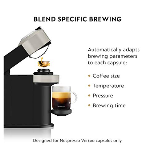 Nespresso Vertuo Next Coffee & Espresso Machine NEW by Breville, Light Grey, Compact, Single Serve, One Touch to Brew, Coffee Maker & Espresso Machine