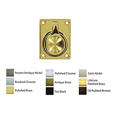 """1-3/4"""" Small Flush Ring Pull, Solid Brass"""